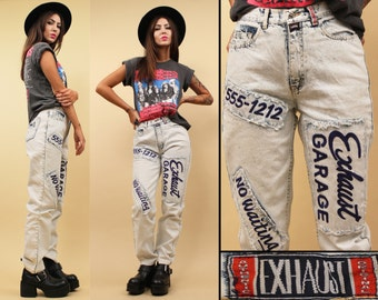 80s 90s Vtg ACiD WASH Bleached DENIM High Waist Jeans / Biker Moto Mechanic Patch Grunge Pants / Medium