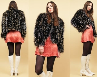 70s Vtg Black Marabou OSTRiCH Feather SHAGGY Jacket / Metallic LUREX Crop Bolero Coat / Mod Glam Rocker / Sm Med