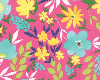 GOOD KARMA aqua blue yellow flowers on hot pink cotton print by the1/2 yard Moda fabric Stephanie Ryan 7210 14