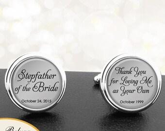 Stepfather of the Bride Cufflinks Personalized Cufflinks Handmade Cuff Links for Wedding Men Dads Stepfather, Stepdad