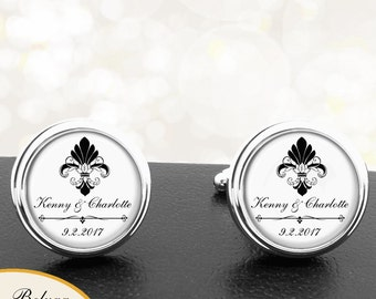 Fleur De Lis Cuff Links Personalized Handmade Cufflinks for Men, Groom, Fiance, Groomsmen, Anniversaries, Weddings