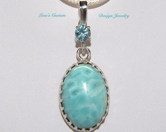 Larimar and blue zircon sterling silver pendant on sterling silver chain