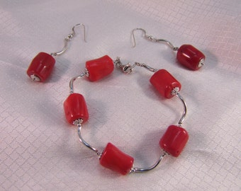 1990's Red Coral Sterling Bracelet and Matching Earrings