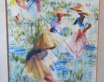WPA, Artist Amy Jones, 1965 Original Watercolor, Workers in Rice Field