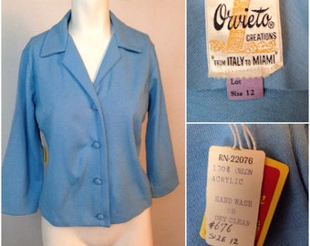 Vintage NOS Deadstock 1950s 1960s Baby Blue Cardigan Sweater Blazer / Women's Medium / 50s Acrylic Cropped Pinup Rockabilly
