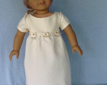 18 inch Regency doll dress. Fits American Girl Dolls.  Ivory crepe dress.