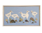 Framed Modern Crewel Embroidery featuring Birds with a light Blue background