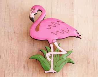 Flamingo Brooch - Painted