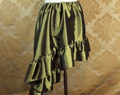 "Slightly Flawed SALE - High Low Mini Cecilia Skirt -- Olive Taffeta -- Ready to Ship -- Best Fits Up To 42"" Waist"
