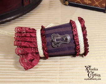 Steampunk Keyhole Single Wrist Cuff -- Ready to Ship, Size S -- Purple, Burgundy, Ivory, and Antique Silver