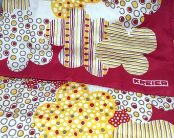 Vintage red and yellow and gold silk scarf Swiss Kreier