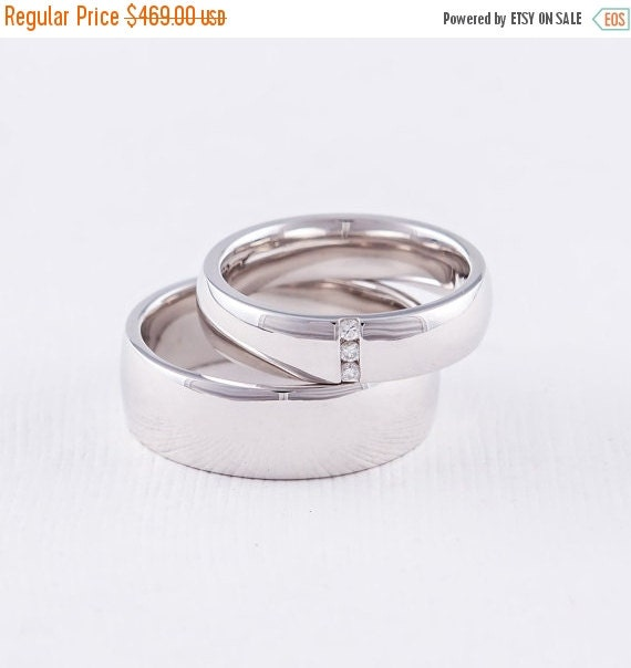 ON SALE Wedding Ring Sets His and Hers Silver by FirstClassJewelry