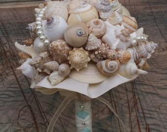 Aqua and Coral Bridal Bouquet/ Bridesmaid Seashell Bouquet / Beach Bouquet/ Seaside Bouquet/ Summer Bouquet/ Wedding Bouquet