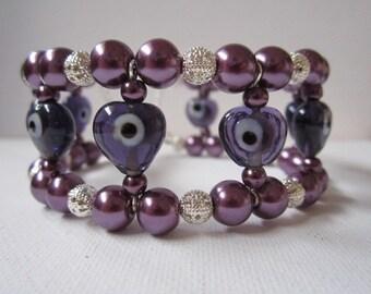 Bracelet: Purple Memory Wire Cuff
