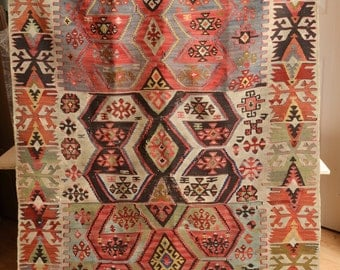 "Antique Turkish REYHANLI Hatay Kilim RUG 19th C Flat-weave, 60""x41"""