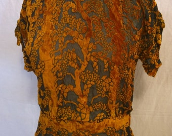 Vintage 1930's Burnout Velvet blouse - Enchanted Forrest