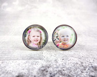 Custom Photo Cufflinks - Personalized Picture Cuff links - Father of the Bride - Memorial Wedding Gift Keepsake - Sterling and Stainless
