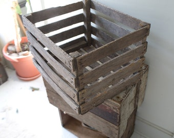 Vintage Apple Slotted Crate - Apple Wooden Crate Wood Crate Wood Box Firewood Holder Kindling Holder Fireplace Container Large Crate