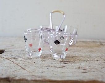 Vintage Set of Card Shot Glasses - Vintage Barware Retro Shotglass Poker Spade Clubs Heart Diamond Tequila Glassware Bar 1970s