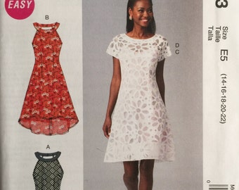 McCall's M6883, Size 14-16-18-20-22, Misses' Dresses and Slip Pattern, UNCUT, Sleevesless, Party Dress, Wedding Guest, Sundress, 2014
