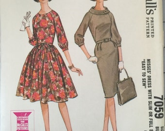 "McCall's 7059 Misses' Dress with Slim or Full Skirt Pattern, UNCUT, Size 16, Bust 36"", Mid Century, Vintage 1963, Easy to Sew, Raglan Sleeve"