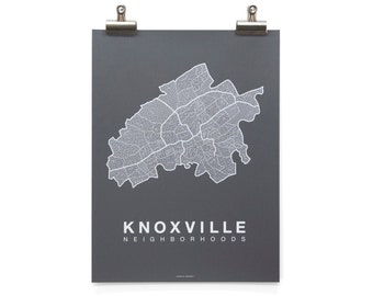 Knoxville Neighborhood Map - White on Charcoal