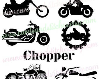 Motorcycles SVG - Chopper SVG - Digital Cutting File - Graphic Design - Vector File - Instant Download - Svg, Dxf, Jpg, Eps, Png