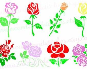 Roses SVG - Flowers SVG - Digital Cutting File - Silhouette Cut - Vector File - Cricut SVG - Instant Download - Svg, Dxf, Jpg, Eps, Png