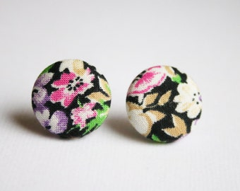 Fabric covered button earrings, floral pattern in black, pink, purple and yellow