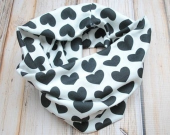 Organic Cotton Knit Infinity Scarf- 6 months up to 5T, Black Hearts on Off White