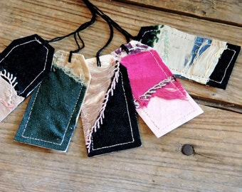 Crazy Quilt Tags, Antique Cutter Quilt Gift Wrap Tags, Hand Embroidered Prim Fabric Card Labels, All Occasion Hang Tags itsyourcountry