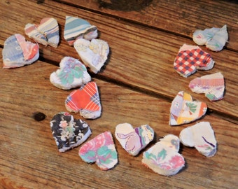 Primitive Heart Appliques, Small Shabby Vintage Cutter Quilt Old Patchwork Embellishments, Craft Supply Lot of 15 itsyourcountry