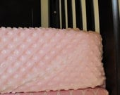 Fitted Sheet - Pink Dot Minky Crib Cot Toddler - Crib Bedding - Additional Colors Available - Bumperless Bedding