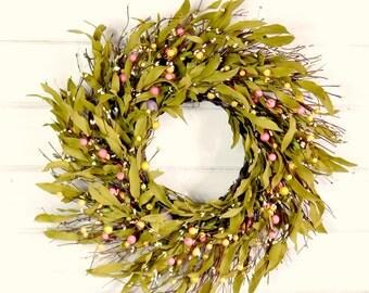 Spring Wreath-Easter Wreath-Spring Door Wreaths-Twig Wreath-Easter Door Decor-Pastel Bay Leaf Wreath-Scented Wreath-Housewarming Gift