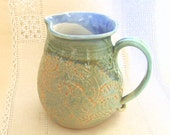 28 oz Pitcher, Hand Thrown Stoneware Jug, Lace Texture, Light Green, Pale Orange, Creamer