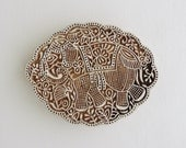 Large Elephant Stamp, Hand Carved Wood Stamp, Scalloped Indian Wooden Printing Block, Animal Stamp, Festival Elephant, Clay or Textile Stamp