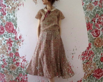 Vintage 70s 80s Burgandy Ivory Floral Voile Cotton Country Tea Dress Medium