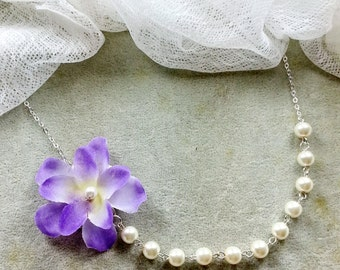 Flower pearl necklace, bridal, bridesmaids necklace, wedding jewelry - W059