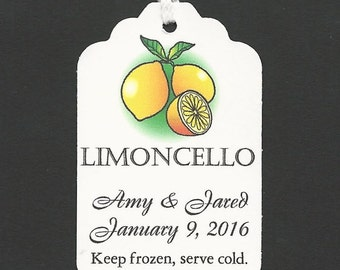 100 LIMONCELLO tags-Personalized Handmade Tags-Wedding Wish Tags-Jam-Honey jar tags-Favor tags