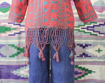 Embroidered Crochet Fringe Top / Red and Emerald Tunic / Vintage Women's Bohemian Top