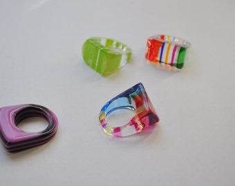 sale LUCITE Vintage Plastic LOT of Retro colourful rings