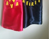 Superhero Capes Personalized in satin with matching Masks and cuffs in Felt