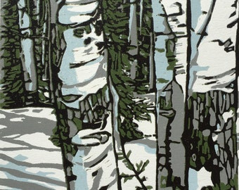Aspens, original linocut from a small edition