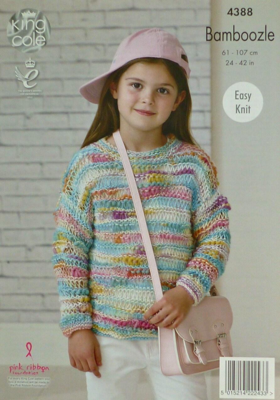 Easy Knitting Pattern Ladies Jumper : Girls Knitting Pattern K4388 Childrens/Ladies Long Sleeve Easy Knit Drop Stit...