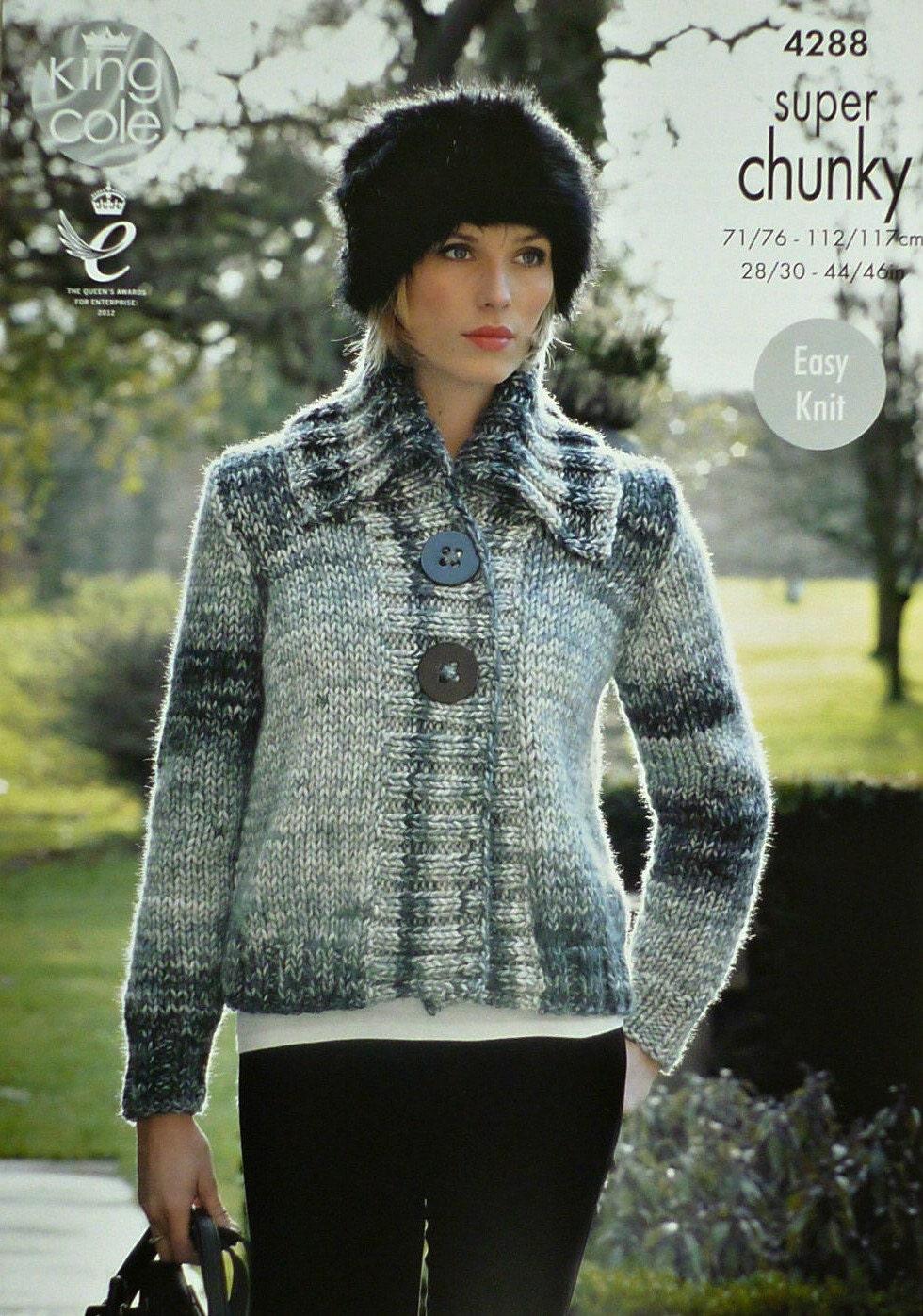Womens Knitting Pattern K4288 Ladies Long Sleeve Short Jacket with Collar EAS...