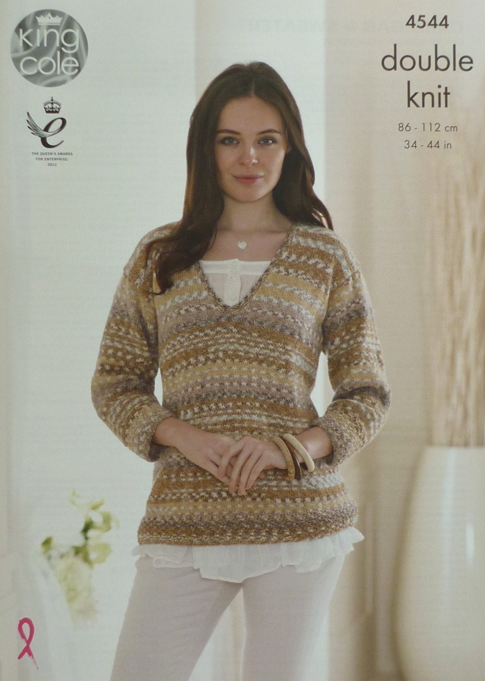 Knitting Pattern Ladies V Neck Jumper : Womens Knitting Pattern K4544 Ladies 3/4 Sleeve V-Neck Jumper Knitting Patter...