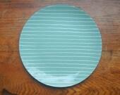 Cathrineholm Blue Striped Enamel Plate - Rare Grete Prytz Kittelsen Designed Enamelware