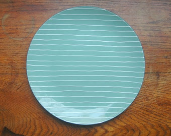 Cathrineholm Blue Striped Enamel Plate - Rare Grete Prytz Kittelsen Designed Enamelware