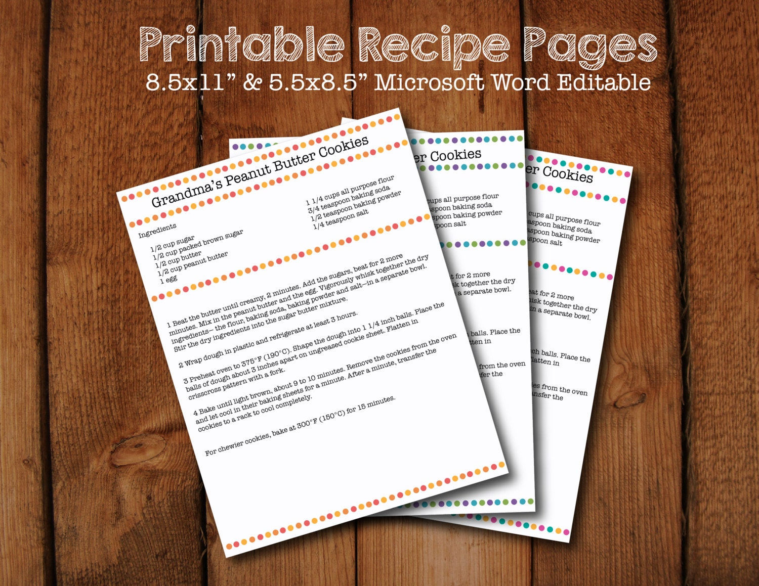 polka dot printable recipe pages microsoft word editable