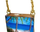 Vintage Cigar Box Purse w/bamboo Handle. Five handbags paintings to choose